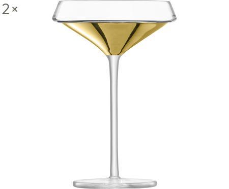 Coupes à champagne soufflées bouche avec détail doré Space, 2pièces
