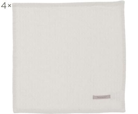Serviettes de table en coton Blanc, 4pièces