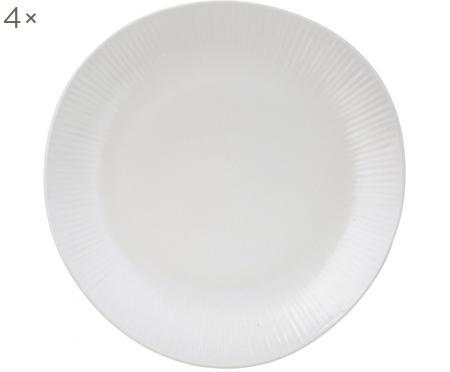 Assiette plate faite main avec rainures légères Sandvig, 4pièces