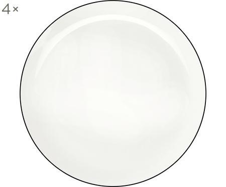 Assiettes plates À Table ligne noire, 4pièces