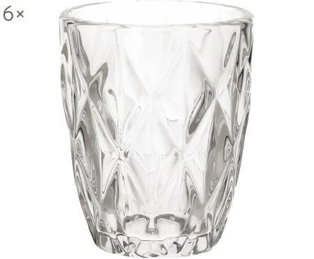 Verre à eau vintage à motifs embossés Diamant, 6pièces
