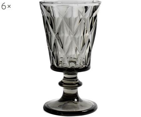 Verre à vin embossage décoratif Diamond, 6pièces