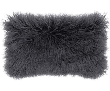 Housse de coussin rectangulaire gris foncé imitation fourrure frisée Morten