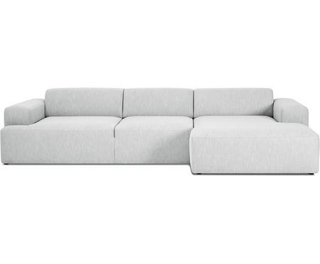 Canapé d'angle tissu gris 4 places Melva