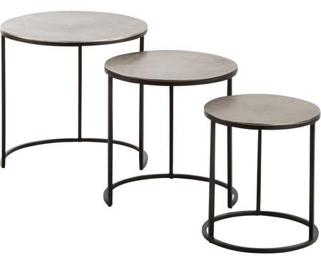 Table d'appoint gigogne avec plateau couleur argentée Scott, 3élém.