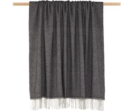 Plaid en laine gris foncé imprimé zigzag Aubrey