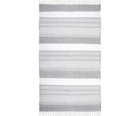 Tapis gris blanc en coton Iceland