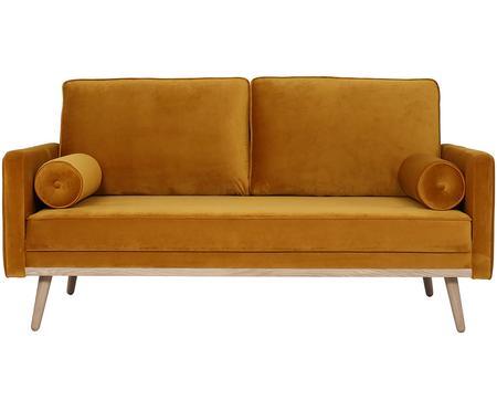 Canapé 2places velours jaune moutarde Saint