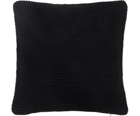 Housse de coussin 40x40 noire, tricot Adalyn