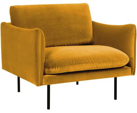 Fauteuil moderne velours jaune moutarde Moby