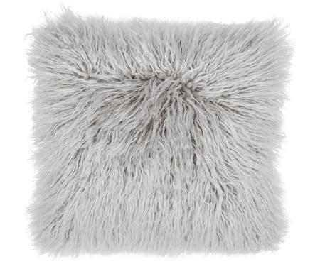 Housse de coussin 40x40 gris clair imitation fourrure frisée Morten