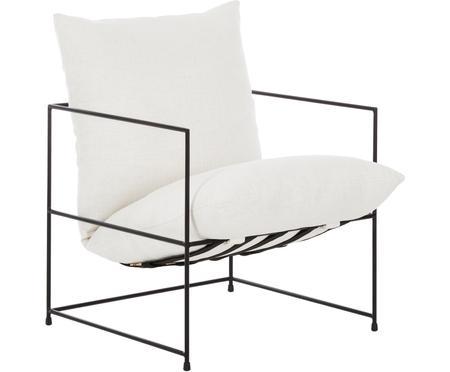 Fauteuil lounge blanc cadre en métal Wayne