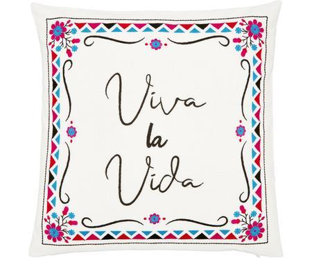 Housse de coussin 45x45 ethno brodée Viva la Vida