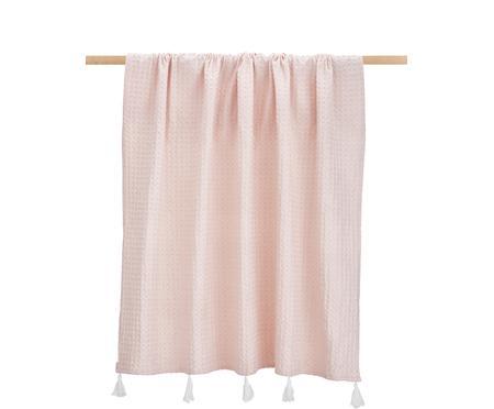 Plaid coton rose à houppes Gopher