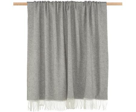 Plaid en laine gris clair à imprimé graphique Alison
