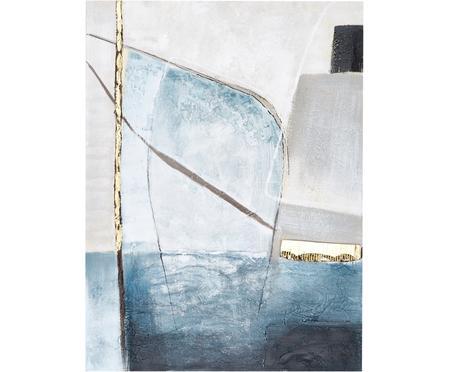 Toile peinte à la main Golden Blue II