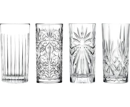 Verre à long drink en cristalavec embossage décoratif Bichiera, 4élém.