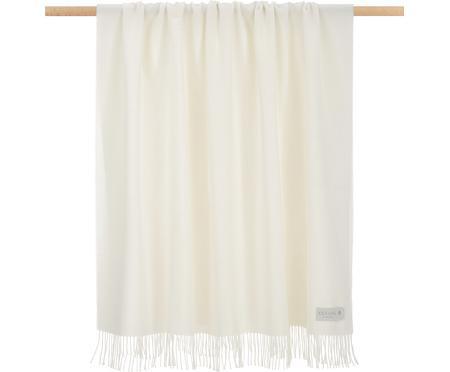 Plaid en laine vierge blanc crème Luxury